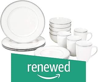 AmazonBasics 16-Piece Cafe Stripe Dinnerware Set, Service for 4 - Grey (Renewed)