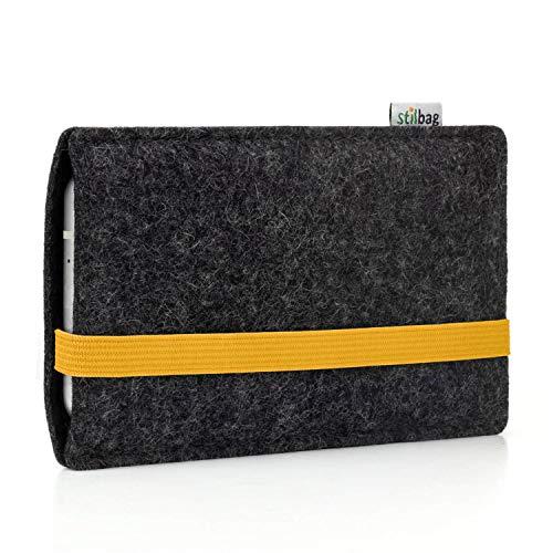 stilbag Handyhülle Leon für Wiko View 2 Go | Farbe: anthrazit/gelb | Smartphone-Tasche aus Filz | Handy Schutzhülle | Handytasche Made in Germany