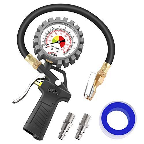 oasser Reifendruckmessgerät Reifendruckmesser 170 PSI Reifendruckprüfer mit US&EU Standard Schnellkuplungen für Auto Motorrad Fahrrad