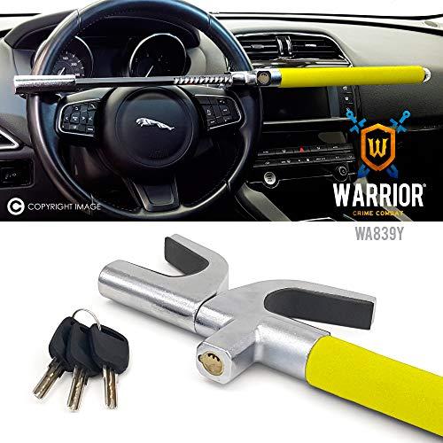 WARRIOR WA839Y Barra Antirrobo Coche Volante Alta Seguridad Universal Ajustable Autodefensa 3 llaves Amarillo más disuasorio