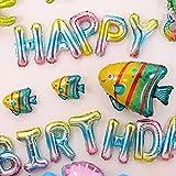 Globos, globos de fiesta, globos de cumpleaños, decoración de pared de fondo de fiesta de tema marino globos de feliz cumpleaños