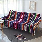 Mexican Serape Blanket with Tassel Bright Colorful Stripe Rainbow Throw Blanket Yoga Beach Blanket Tablecloth Sofa Cover(Purple, 60' X 82')