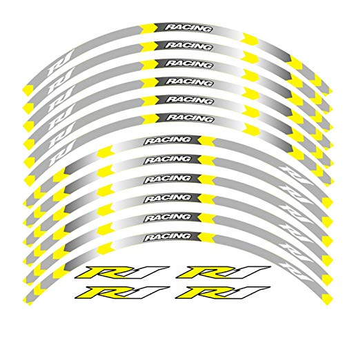 7 Color para Yamaha YZF R1 Calcomanías de la Rueda de la Motocicleta Pegatinas Reflectantes Stripes de llanta YZF R1 Motorbike 17 Pulgadas (Color : B Yellow)