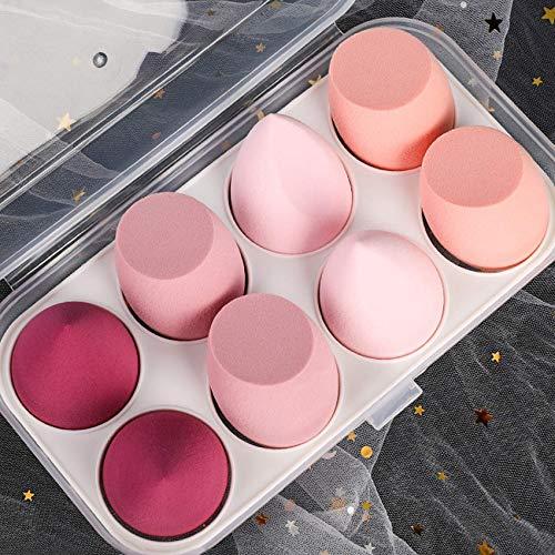 Make-Up Schwamm Beauty Sponge Blender,Professionelle Kosmetische Puff Bevel Cut,Zubehör Werkzeuge Schönheit Ei (8 Stücke, Hell-Pink)