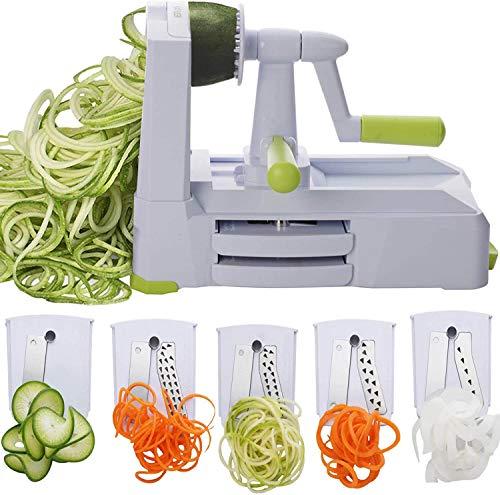 RHSML 5-Klingen-Spiralizer, stärkster Gemüsespiralenschneider, Bester Spaghetti-Hersteller für vegetarische Nudeln für kohlenhydratarme/paläo- / glutenfreie Produkte