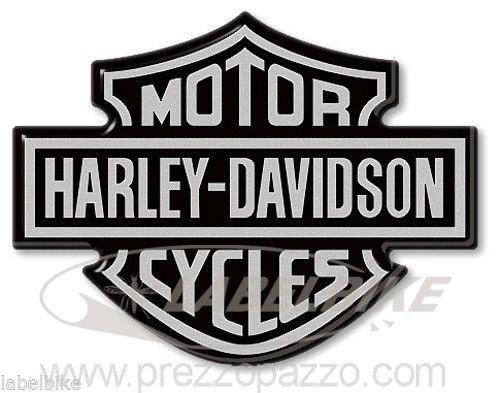 Adhesivos 3D Logo Cresta Depósito Compatible Harley Motocicleta Davidson 95x70 Plata