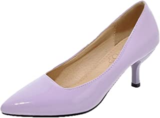 VogueZone009 Women's Solid Patent Leather Kitten-Heels Pointed-Toe Pumps-Shoes, Purple, 33