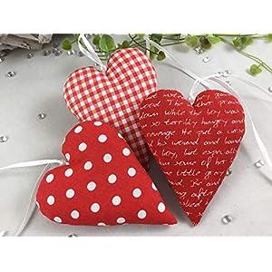 3 Stoffherzen in rot/weiß, Dekoherzen,Herzen, Give-away,Punkte,Karo,Schrift,