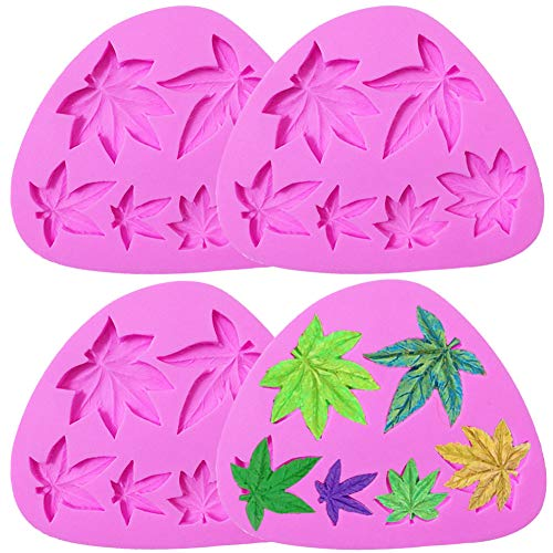 4PCS Weed Leaf Cake Fondant Mold maple leaf Pot Leaves Silicone Mold, for Leaf Theme Cake Decoration, hocolate Candy Sugar Craft Gum Paste Polymer Clay DIY Handmade ect