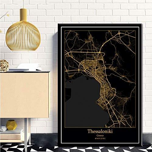 Serthny kunstdruk op canvas, motief: Thialonic, Griekenland Black & Amp; Gold City Light Maps wereldkaart custom stad Afiches Canvas Nordic Art muur decoratie voor thuis 40×50cm (15.74×19.68inch)no frame