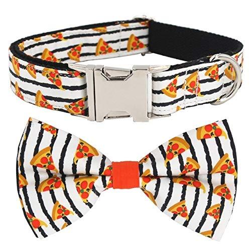 Muster Hundehalsband und Leine mit Fliege, für große und kleine Hunde Baumwollgewebe Halsband Roségold Metallschnalle, Streifenhalsband Schleife, M (30,45 cm Länge)
