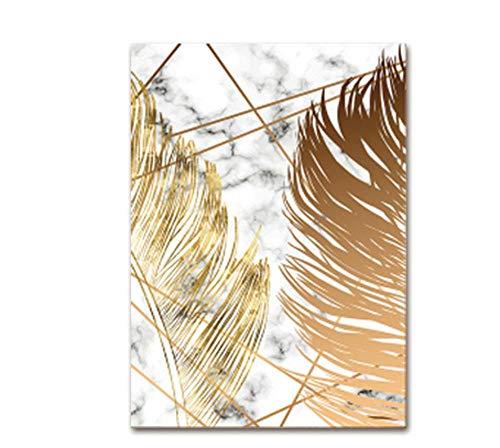 YTHK Cartel artístico de Estilo nórdico con diseño de Pan de Oro, Lienzo, Cuadros Abstractos de mármol, decoración de Sala de Estar y Cocina B, 60 cm x 80 cm