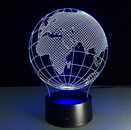 LED 3D Ilusión LED Luz de Noche Africa World decoración de dormitorio regalo lámpara de noche creativa regalo Con interfaz USB, cambio de color colorido