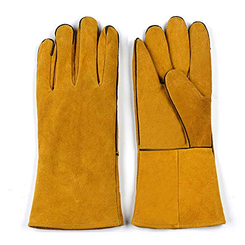 Welding Gloves Cowhide Welded Leather Gloves Heat-proof and Hot-proof Welder Wear-resistant Lengthened Thick Labor Insurance Gloves Heat resistant gloves(1pair)