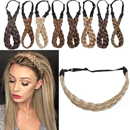 SEGO Bandeau Tressé Serre-Têtes Accessoire Headband Élastique Cheveux Bande Pièce Stretch [5 Brins Largeur: 2.5cm] Postiche Twist Femmes Ruban Fibres Synthétiques Flexible