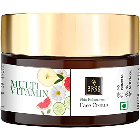 Good Vibes Multi Vitamin Skin Enhancement Face Cream, 50 g Deep Moisturization & Skin Improvement For All Skin Types, Helps Reduce Wrinkles & Fine Lines, Natural, No Parabens & Sulphates