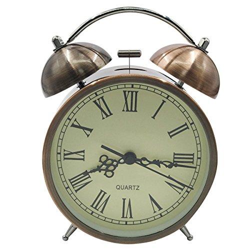 EASEHOME Doble Campanas Reloj Despertador de Cuarzo Analógico, Vintage Despertadores Silencioso sin Tictac Despertadores de Mesita Relojes Alarma Fuerte Luz Nocturna, 4.5 Pulgadas Números Romanos