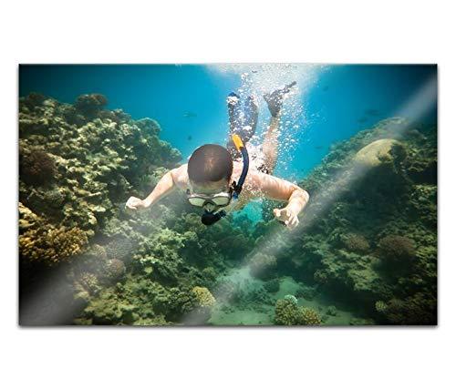 Acrylglasbilder 80x50cm Sport tauchen Korallen Riff Ozean Acryl Bilder Acrylbild Acrylglas Wand Bild 14H2190