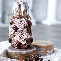 Velas decorativas marrones hechas a mano - hermosas velas talladas con rosas beige - Regalo de Navidad - Las velas...