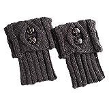 COZOCO Calentador De Punto Cálido De Pierna De Invierno Para Mujer Botines De Ganchillo Botas Perezosas (una talla, gris oscuro)