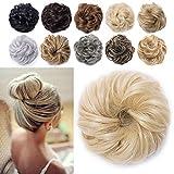 TESS Haargummi Haarteil Dutt Blond mit Haaren Gewellt Dicke Haarknoten Hochsteckfrisuren günstig Haarverlängerung Extensions für Frauen 40g