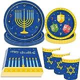 44Pcs Hanukkah Party Supplies Plates Cups Napkins - Holiday Chanukah Party Decorations Favors Tableware Set