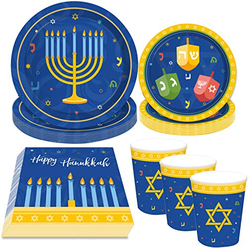 44Pcs Hanukkah Party Supplies Plates Cups Napkins - Holiday Chanukah Party Decorations Favors Tableware Set