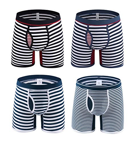 Novee Mens Classic Cool Soft Cotton Boxer Briefs Trunks Stripe Underwear Sweat Wicking 4 Pack (0710-4 Pack-M)