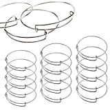 15 PCS Expandable Bangle Bracelet, Adjustable Wire Blank Bracelet Expandable Bangle for DIY Jewelry Making, Silver