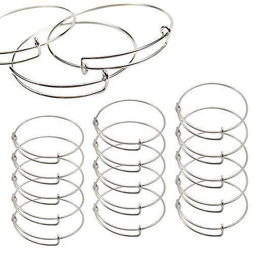 15 PCS Expandable Bangle Bracelet, Adjustable Wire Blank Bracelet Expandable Bangle for DIY Jewelry Making, Silver