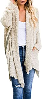 Hairy Cardigan Womens GREFER Fashion Solid Plush Lightweight Sweater Long Coats Irregular Hem Tops