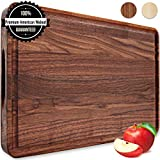 Large Wood Cutting Board Walnut 18x12 Inch Reversible with Handles and Juice Groove, Extra Thick Butcher Block Chopping Board Carving Cheese Charcuterie Serving Handmade by AtoHom