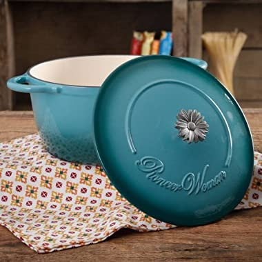 The Pioneer Woman Timeless Beauty Gradient 5-Quart Dutch Oven with Daisy and Bakelite Knob,BLUE