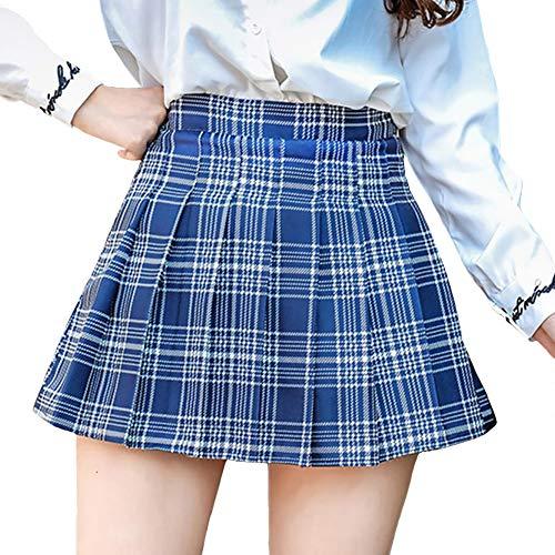 DAYTOYXZ Rock Damen Mädchen Kurze hohe Taille gefaltete Skater Tennis Schule Rock (Blau, S)