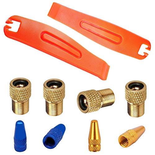 bike tire valve types EPSVCSEWN Bicycle Tire Levers Crowbar Bike Tyre Opener Repair Patch Kit + Dust Covers Presta Tire Valve Caps and Presta to Schrader Valve Adaptor Tube Pump Air Compressor Tools