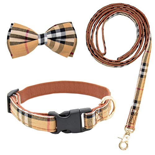 Bow Tie Dog Collar with Leash Set Classic Plaid Adjustable Dogs Collars with Removable Bow Tie for Small to Medium Dogs