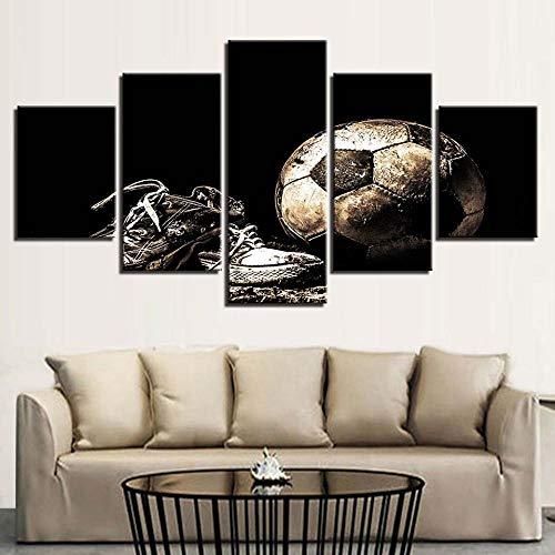 YOPLLL Leinwanddrucke Wandkunst Poster Modular Framework Leinwand Modern 5 Panel Sport Fußballschuhe Wohnzimmer Dekorative Kunstwerk Bild