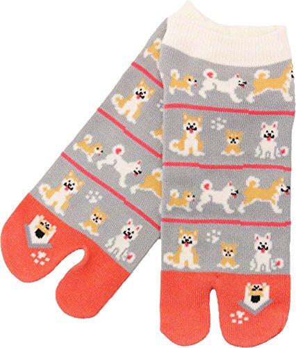 Kyoyu Women's Japanese Pattern 2-Toe Flip-Flop Tabi Ankle Socks, Dog Family, SHOE SIZE:23-25cm JP,5.5-8.5 US Women -  Kyoyu.co,.Ltd