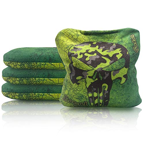 Local Bags New 2021 Cornhole - Gator Series - Set of 4 Bags - Resin Filled - Double Sided - Slick and Stick Sides - Made in USA (Lime)