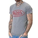 Von Dutch Camiseta para hombre con cuello en V, gris, S