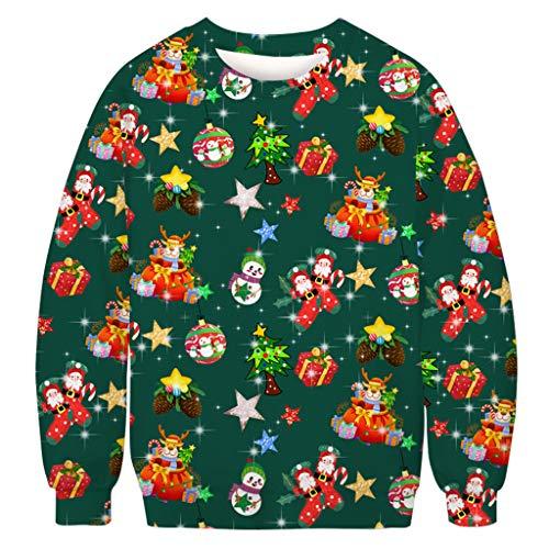 KPPONG Pull Noël Homme Moche Imprimé Ciel étoilé Sweat-Shirt Col Rond Décontracté Sportif Sweat Shirt Christmas Ugly Fantaisie Manches Longues Shirt Unisexe