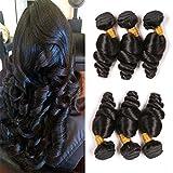 Loose Wave 3 Bundles 16 18 20 Inch Brazilian Virgin Human Hair Unprocessed Remy Hair Weave Extension Double Weft Grade 9A Loose Curl Hair Bundles For Black Women Natural Color