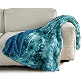 Bedsure Faux Fur Throw Blanket for Couch - Teal Fuzzy...
