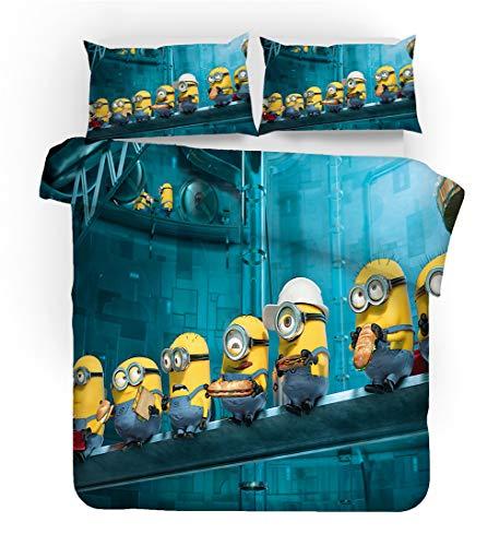 GDGM Minions Bettbezug,Bettwaren-Sets Für Kinder - Bettbezug Und Kissenbezug,Mikrofaser,3D Digital Print,kinderbettwäsche Minions Family (G,220x240cm)