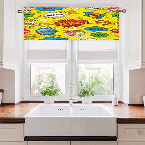 Window Curtain Valance Superhero Window Tiers Bedroom Valance Humor Speech Bubbles Funky Vivid Bang Boom Bam Pow Fiction Symbols Artful Design for Kid's Bedroom Multicolor Rod Pocket Panel 60'W x 18'L