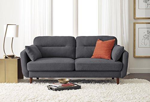 """Serta Sierra Living Room Sofas Modern Design Microfiber Upholstered Couch Ideal for Smaller Spaces, 61"""" Loveseat, Slate Gray"""