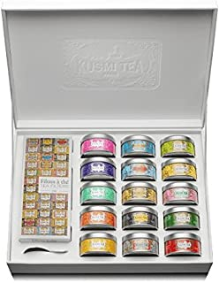 Kusmi Tea - Premium Collection - 15 tins of loose leaf flavored teas sampler and infuser - Perfect Tea Gift Set