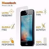 Maxotech Protector de pantalla de cristal templado curvado para iPhone 5 5S SE, antiarañazos, fácil de instalar, resistente 9H sin bordes