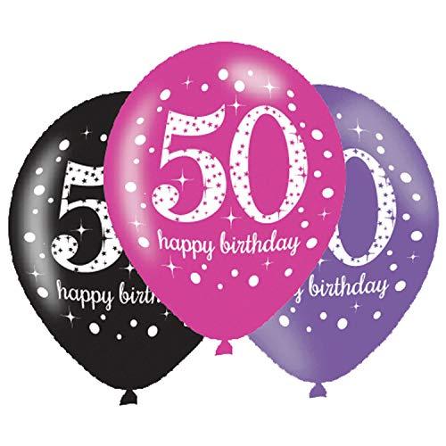 amscan 9900878 50th Happy Birthday Latex Balloons Glittery Pink-27cm-6 Pcs
