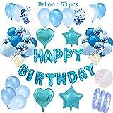 Set de decoración de cumpleaños azul para niños: globos de papel de helio Guirnalda de pancartas de feliz cumpleaños y 46 globos y corazones de 4 estrellas para la fiesta de cumpleaños del niño